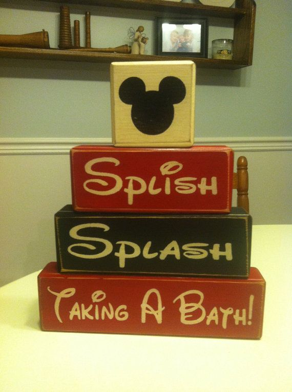 Mickey Mouse Bathroom Decor Splish Splash Taking A Bath Disney Rustic  Country Primitive