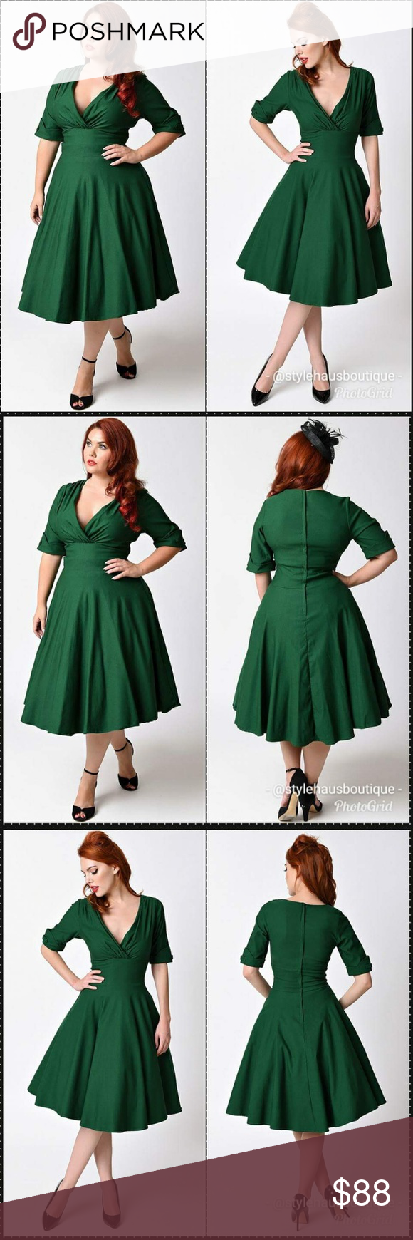 Emerald Green Swing Dress By Unique Vintage Unique Vintage Dresses Dresses Swing Dress [ 1740 x 580 Pixel ]