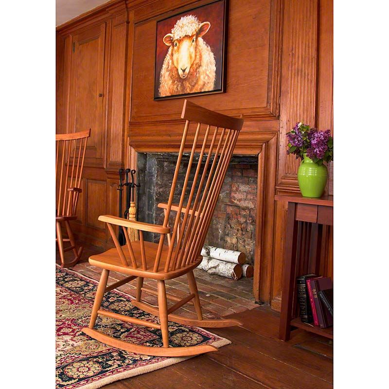 Windsor Rocking Chair Solid Cherry Wood Furniture Made In Vermont Available At Woods Studios