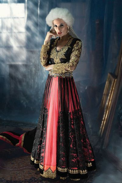 AWESOME BLACK AND PINK COLOR DOUBLE LAYER ANARKALI SUIT