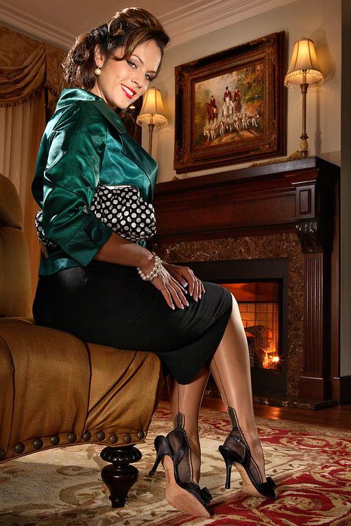 Black Pencil Skirt Green Satin Top Sheer Black Back Seam ...