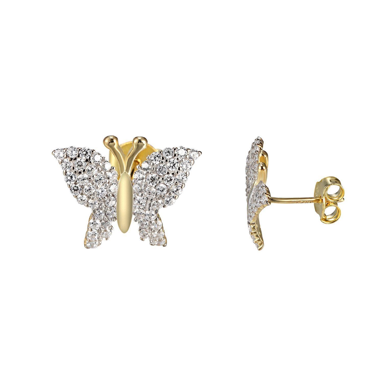 14K Gold Over Sterling Silver Butterfly Stud Earrings
