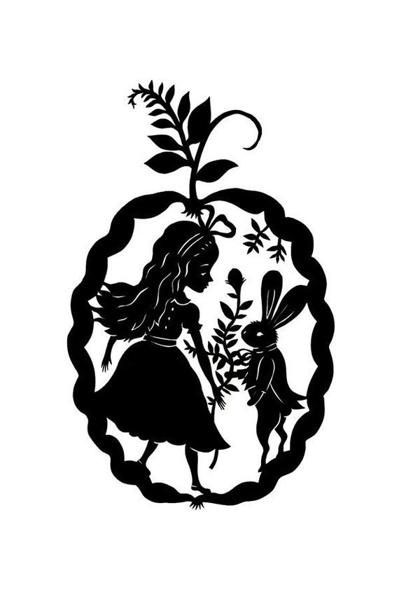 Piece: Alice in Wonderland. Black and white print of an