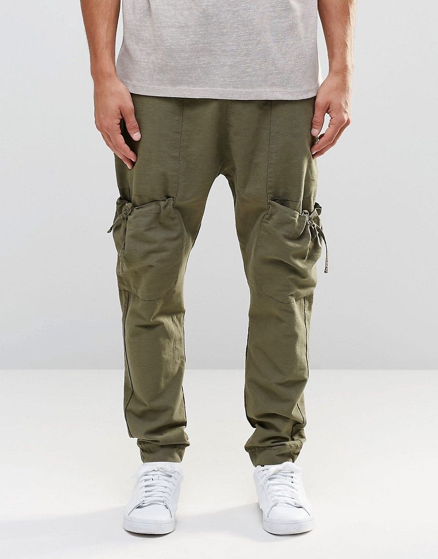 ASOS Drop Crotch Joggers In Linen With Cargo Pockets In Khaki at asos.com