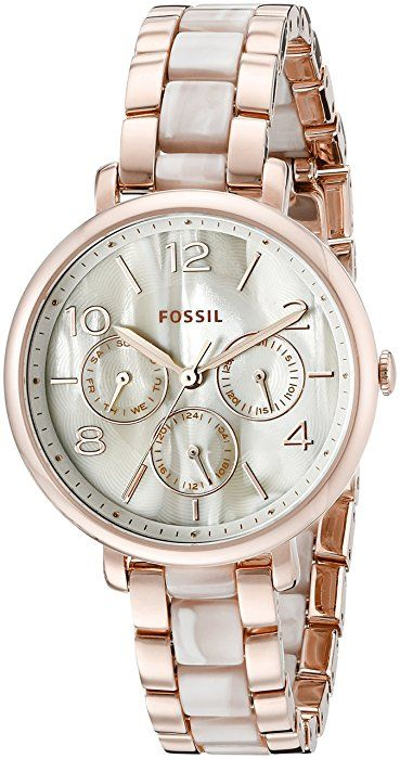 799929f80 Fossil Women's ES3921 Pearlescent Rose Gold-Tone Stainless Steel Watch