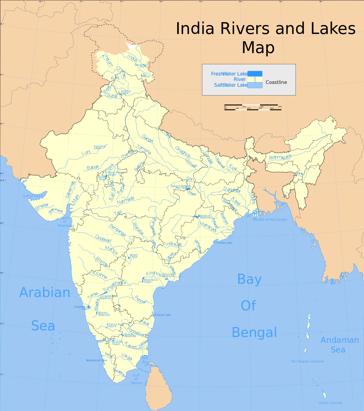 List Of Major Rivers Of India Wikipedia Map Pinterest - What are the major rivers