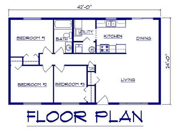 24x42 Ranch Floor Simple Floor Plan Pinterest Ranch