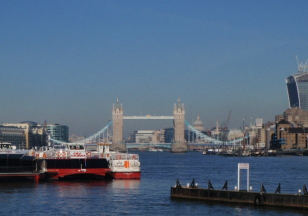 Sunny day looking to Tower Bridge - air pollution building