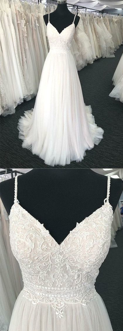 Charming Spaghetti Straps White Wedding Dresses Appliques With Ruffles by MeetBeauty 16398 USD