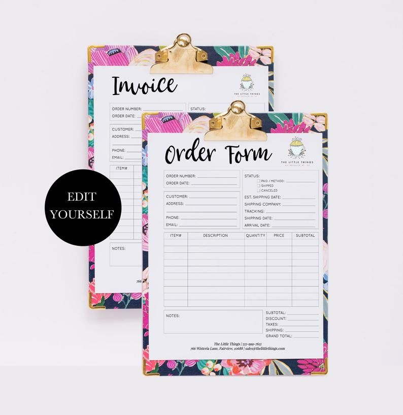 Editable Order Form Template Printable Order Form Instant Etsy Order Form Template Template Printable Invoice Template