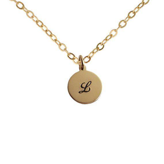 d65b6499d016a Petite Gold Initial Charm Necklace Personalized 14K Letter Pendant ...