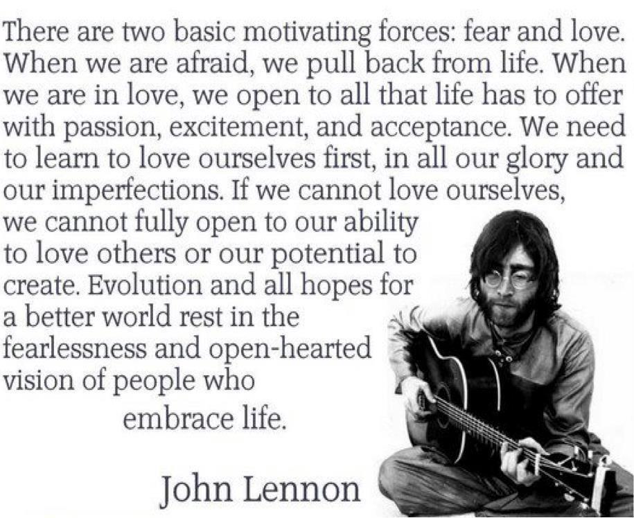 John Lennon Fear Love Quote