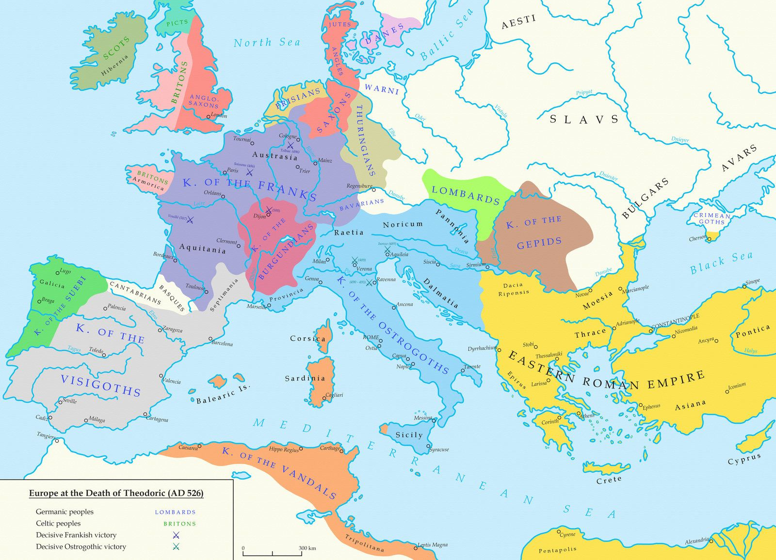 The Barbarian Kingdoms Of Europe In 526 Historical Maps Roman