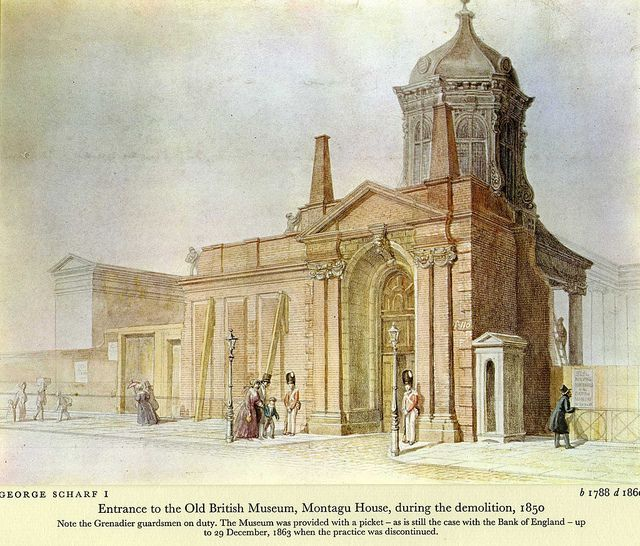Entrance to the Old British Museum, Montagu House, during the demolition, 1850 by George Scharff I 1788 - 1860.