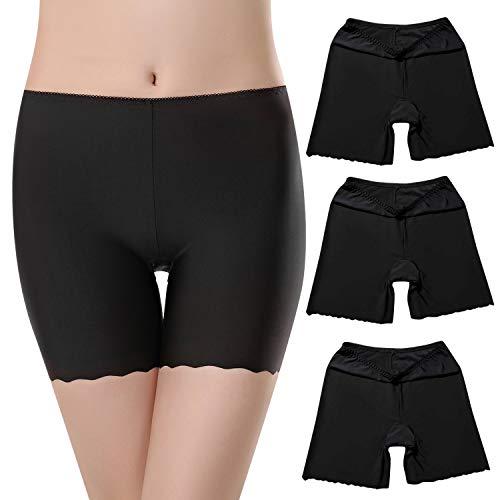UMIPUBO Bragas Algodon Mujer Seguridad Ropa Interior Seda de Hielo Boxer Short Leggings Cortos Slipshort Pantalon Falda Leotardos de Pack de 3