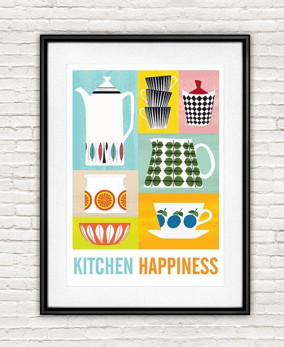 Arredamento di cucina arte per la cucina metà del secolo di handz ...