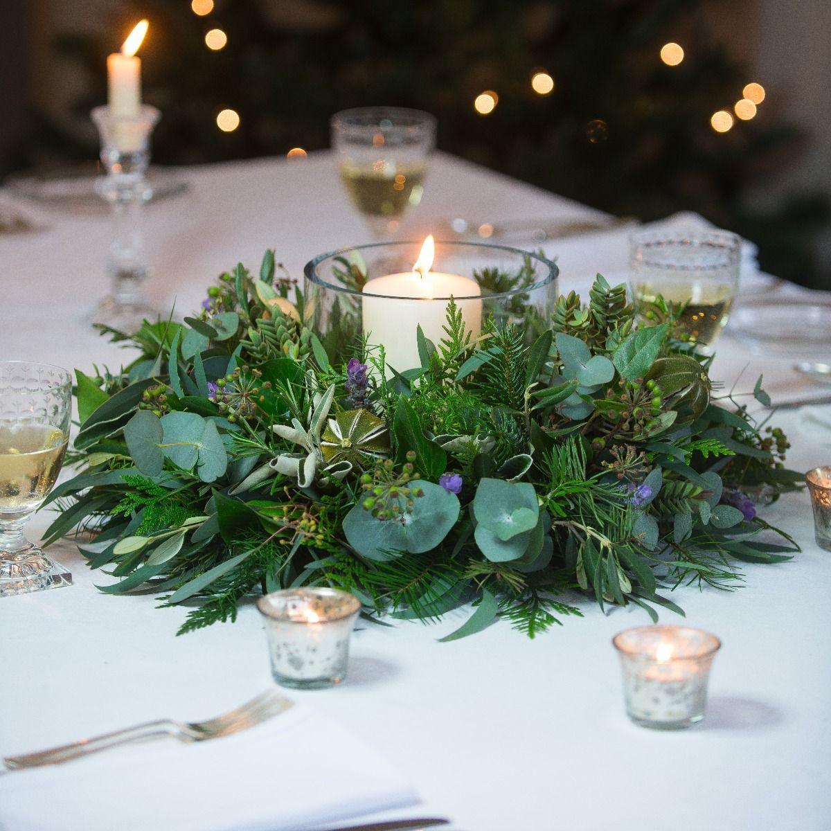Lavender Lime Table Wreath Fresh Christmas Wreath Diy Christmas Table Christmas Wreaths