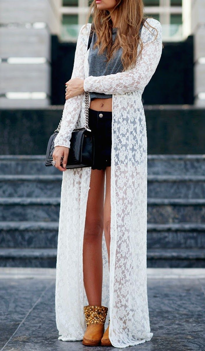 Beautiful White Lace Long Cardigan. | Fashion 2.0 | Pinterest ...