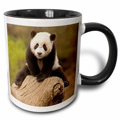 East Urban Home China, Wolong Panda Reserve, Baby Panda Bear on Stump Alice Garland Coffee Mug #babypandabears