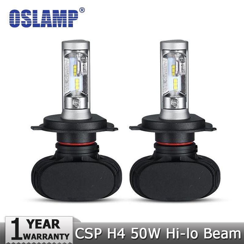 Oslamp H4 Hi Lo Beam Led Car Headlight Bulb 50w 6500k 8000lm Auto Led Headlamp Cree Csp Chips Headlights Car Headlights Led Headlights Cars Car Headlight Bulbs