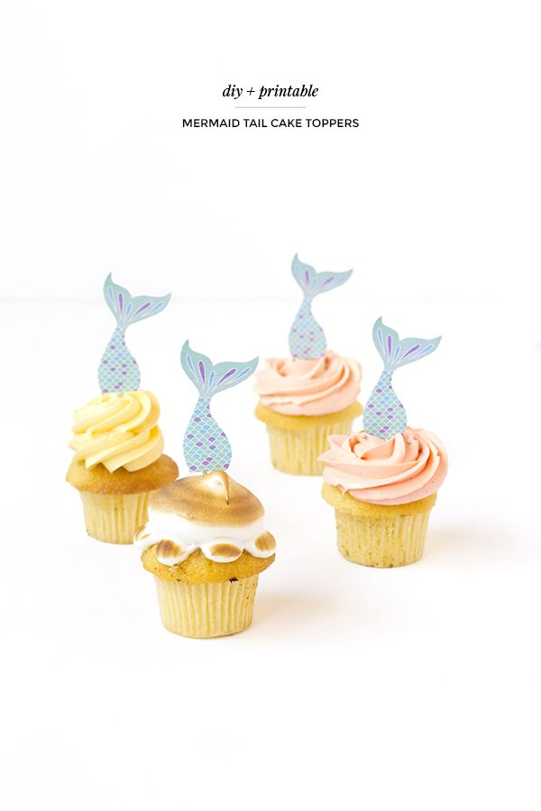 Printable Mermaid Tail Cake Toppers Mermaid Cupcake Toppers Mermaid Tail Cake Mermaid Cake Topper