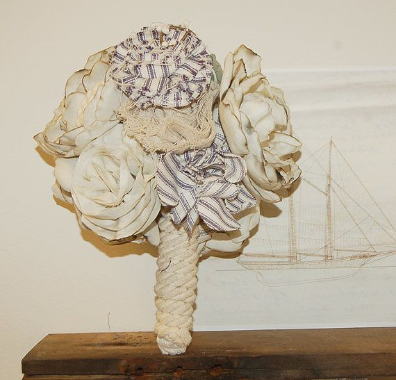 Items Similar To Bouquet Made From Recycled Sail Ticking On Etsy