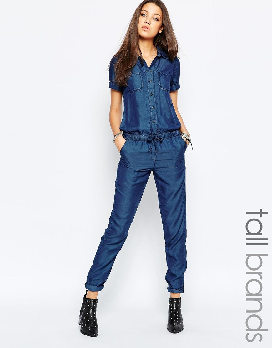 9bf869c978b Image 1 of Noisy May Tall Short Sleeve Jumpsuit With Drawstring Waist