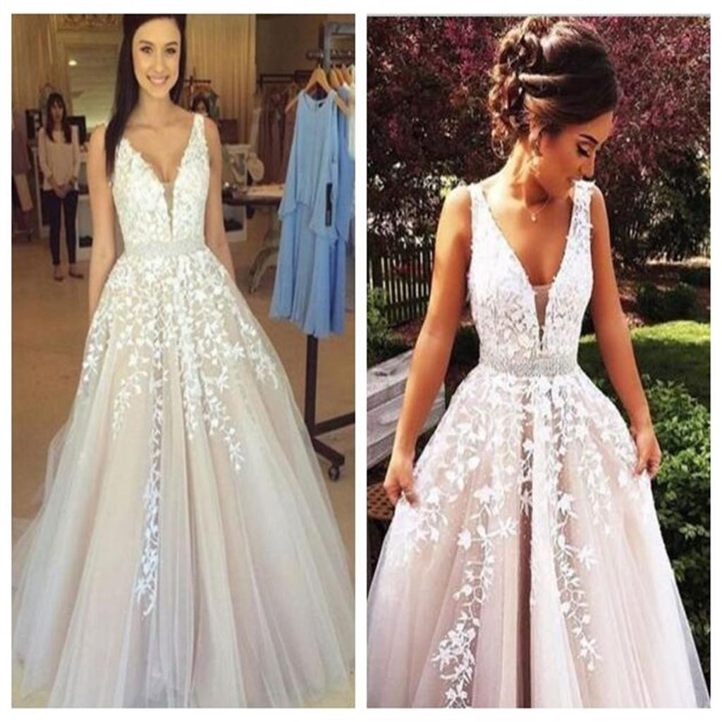 Applique v neck sexy long evening party prom dress ball gown