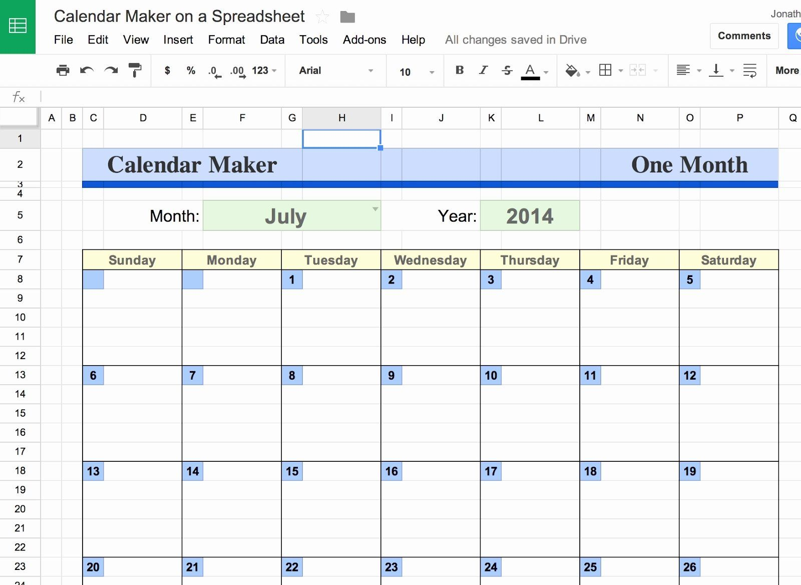 Calendar Template Google Docs Spreadsheet Unique Google