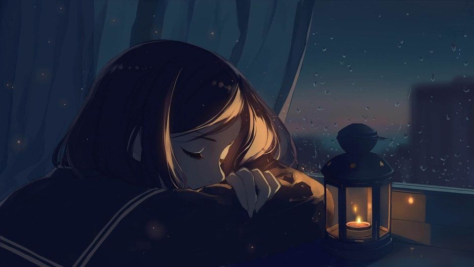Falling Asleep Original Moescape Anime Art Beautiful Anime Scenery Lonely Art