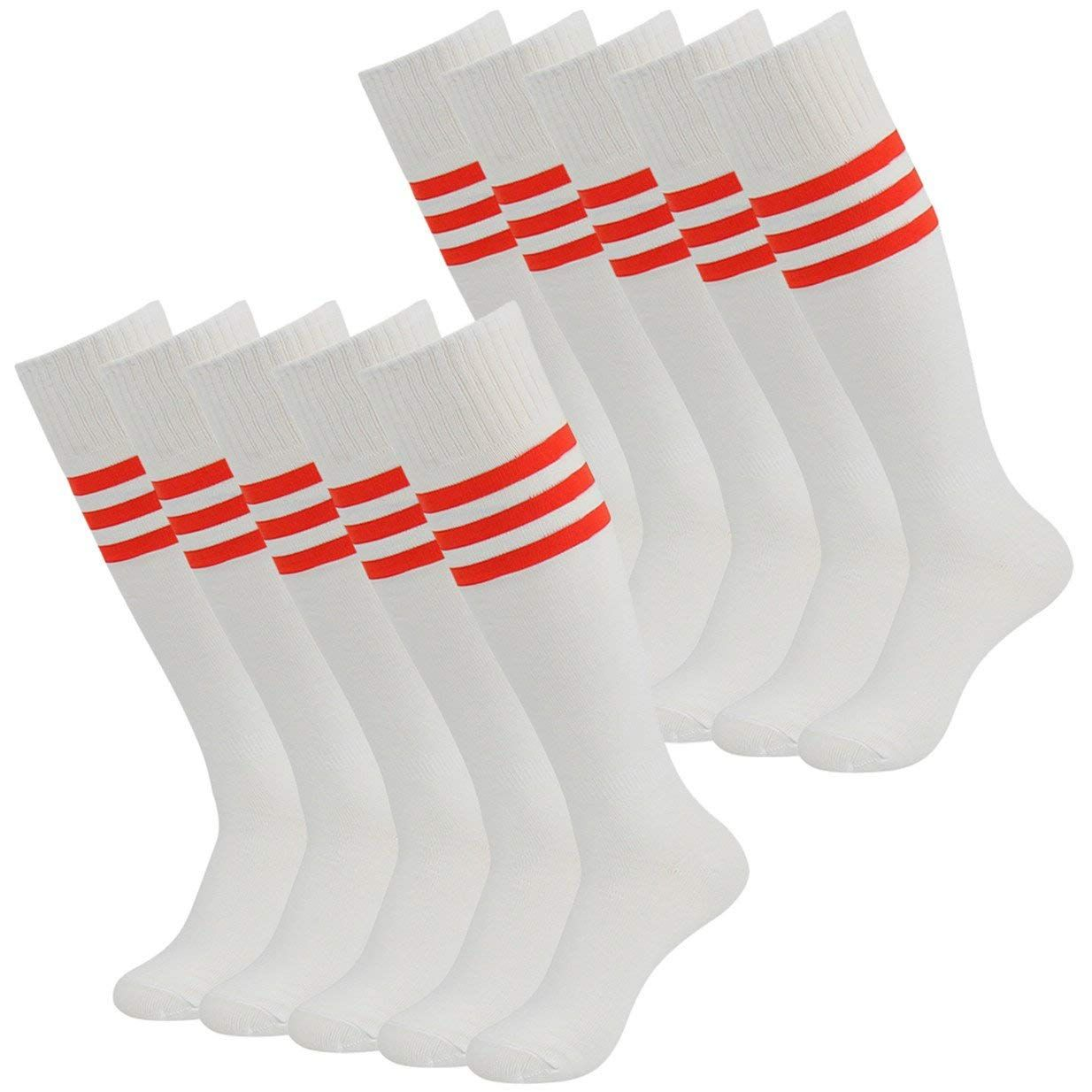 bb32332a6 3street Soccer Baseball Socks, Solid/Striped Knee High Long Tube Football  Game Team Socks 2/6/10 Pairs ** See the photo link even more details.