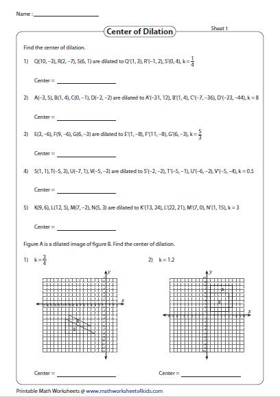 Find The Center Of Dilation Dilations Find Coordinates Worksheets