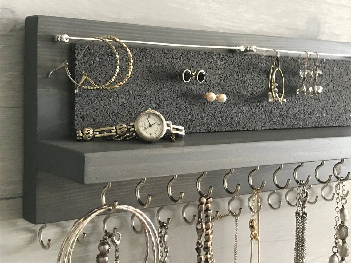 14″ Gray Jewelry Organizer Necklace Holder with Silver Hooks – Wall Mounted Rustic Wood, Necklaces Bracelets, Earrings
