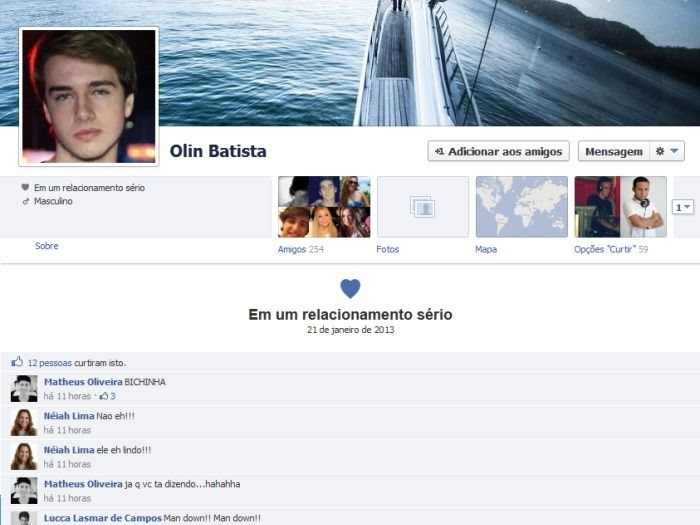 No Facebook, Olin Batista muda status para relacionamento sério