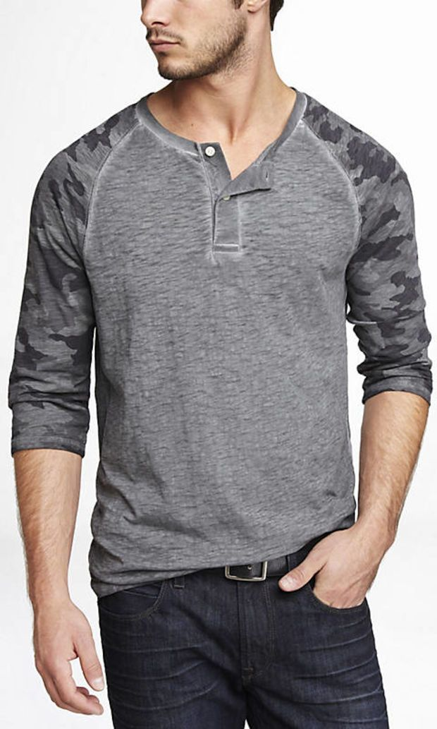 CAMOUFLAGE SLEEVE HENLEY BASEBALL TEE from EXPRESS