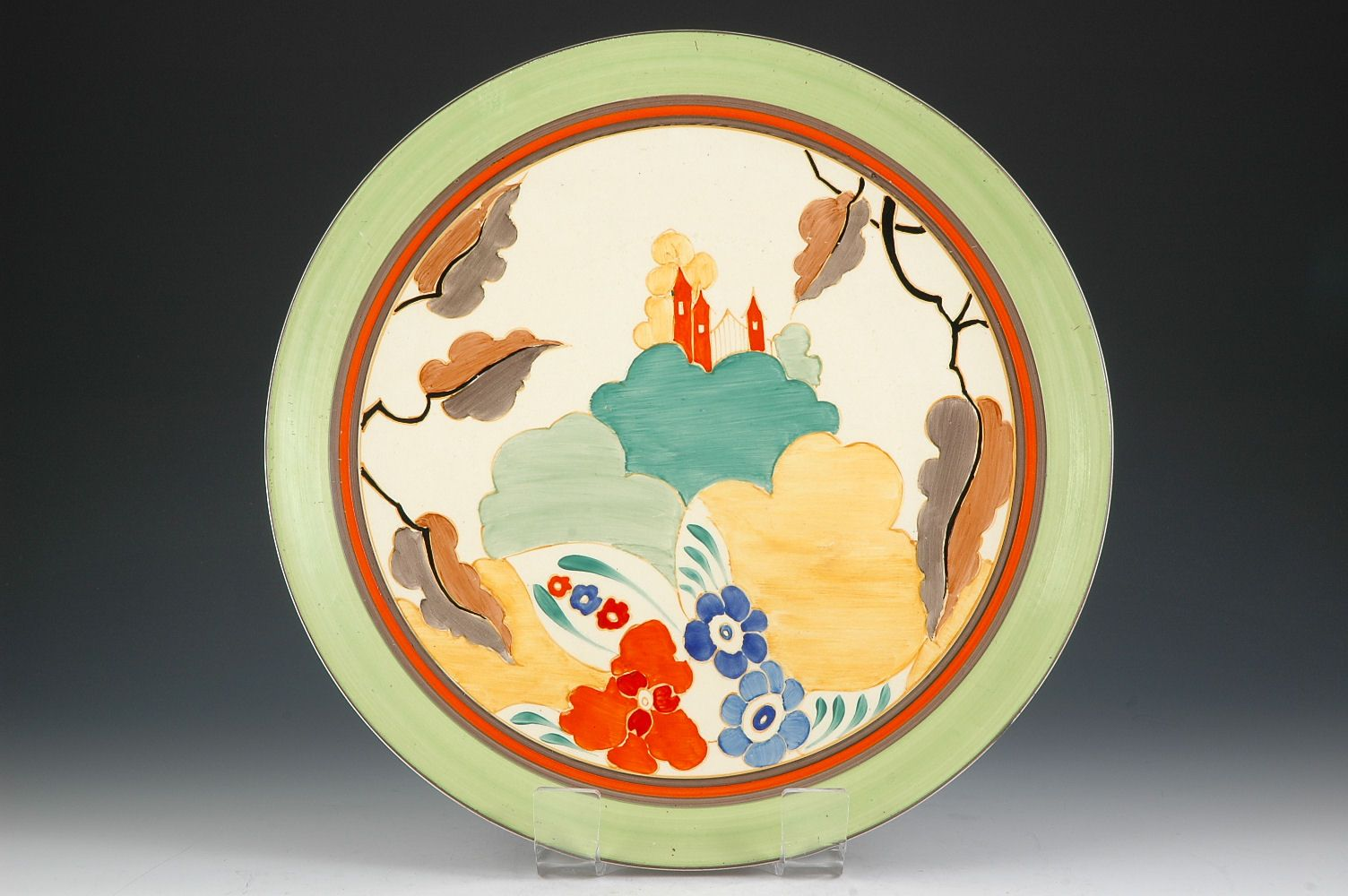 Clarice Cliff Wall Plate - Alton Pattern - Bizarre marked - 330mm ...