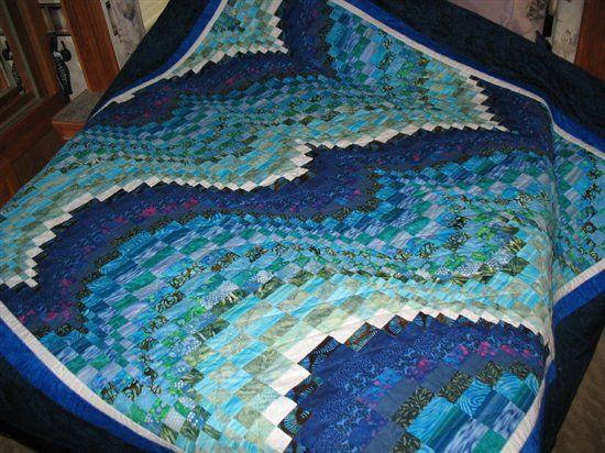 Blue wave quilt-I would like to make a Bargello Quilt someday ... : bargello wave quilt pattern - Adamdwight.com
