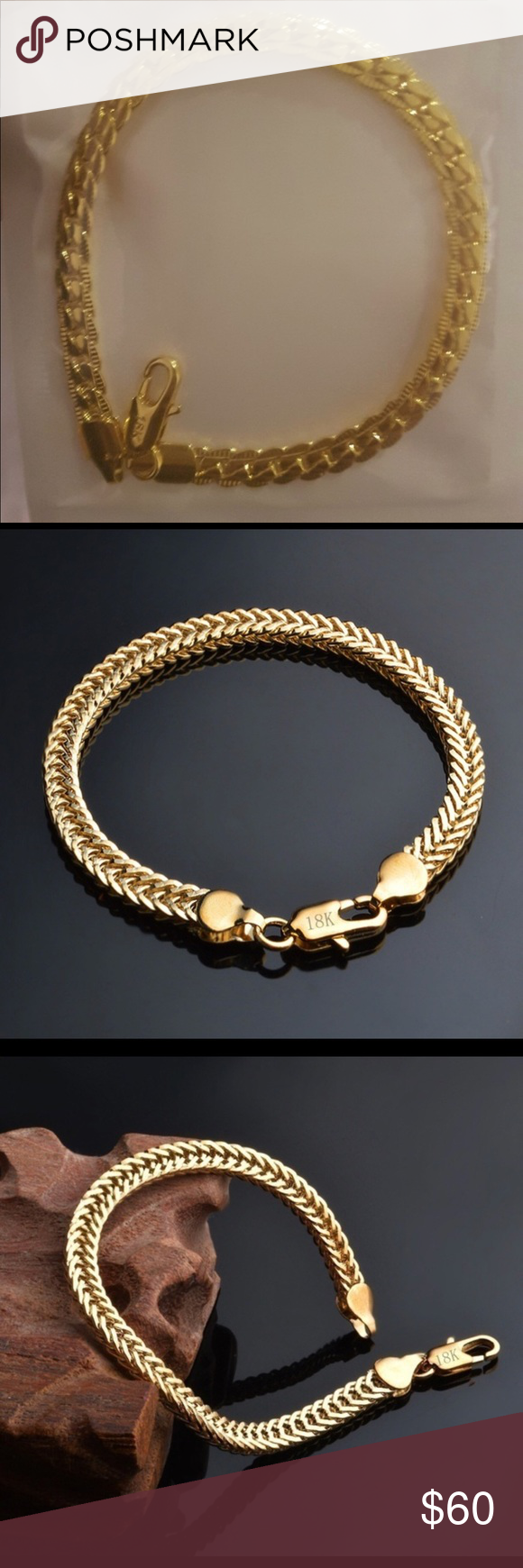 K unisex foxtail gold fashion hand bracelet in my posh