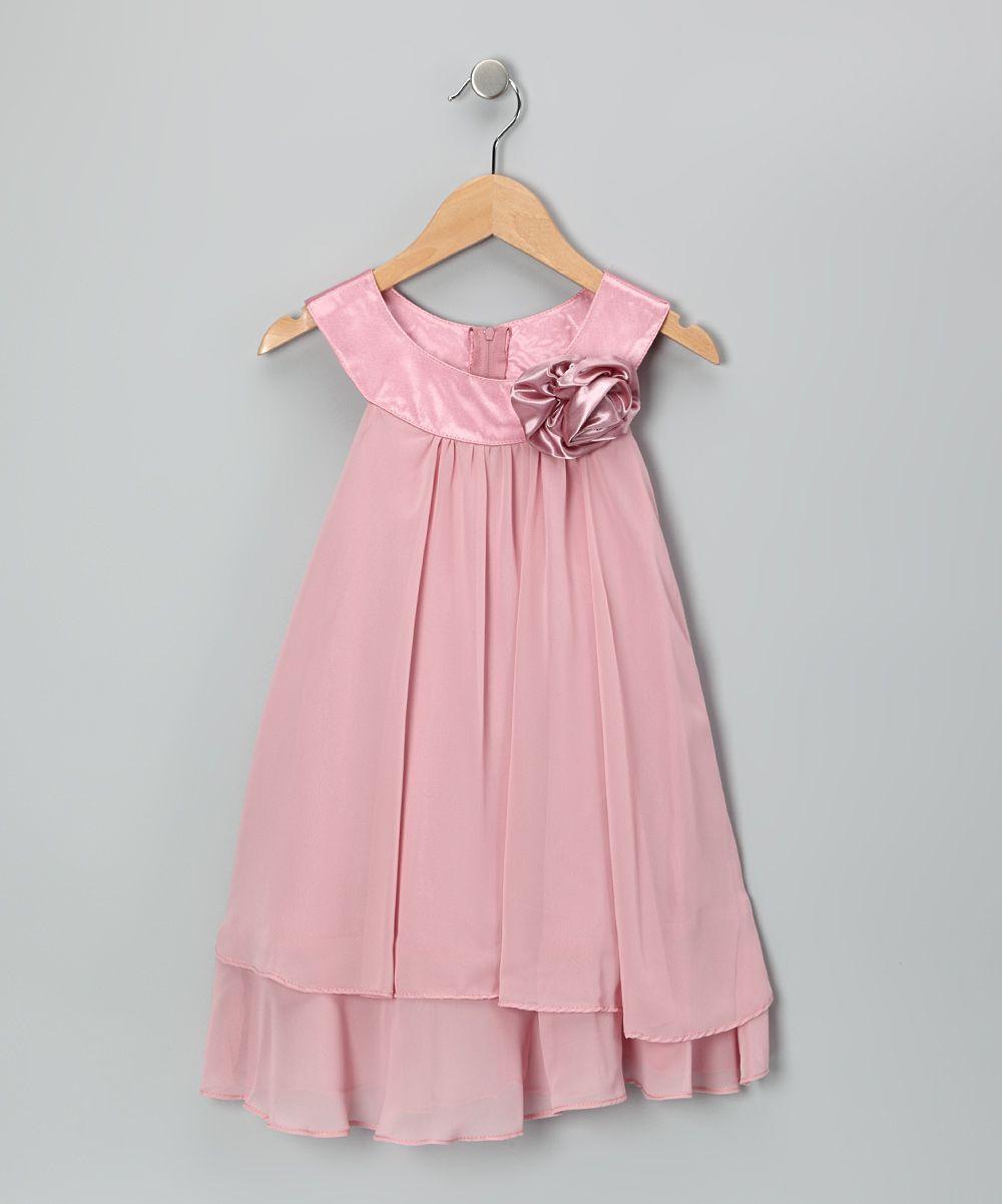 Pink Flower Yoke Dress Toddler Amp Girls 26 Zulily