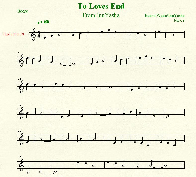 To Loves End, InuYasha, sheet music Anime sheet music