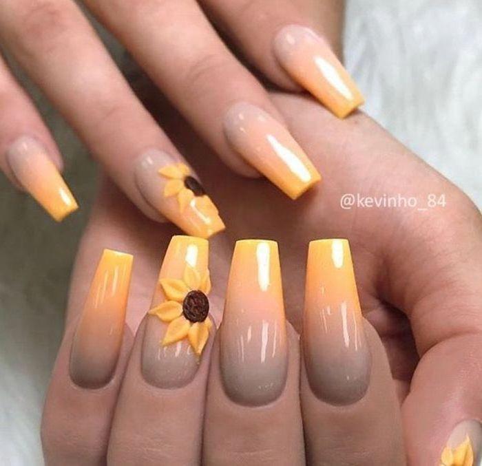 Grey-yellow-ombre-nail-polish-yellow-sunflowers-classy