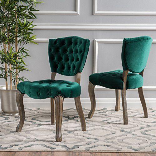 Elizabeth Tufted Dark Green New Velvet Fabric Dining Chai... // & Elizabeth Tufted Dark Green New Velvet Fabric Dining Chai... https ...