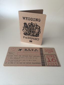 Rustic Passport Wedding Invitation And Boarding Card Rsvp