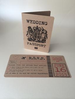 Rustic Passport Wedding Invitation And