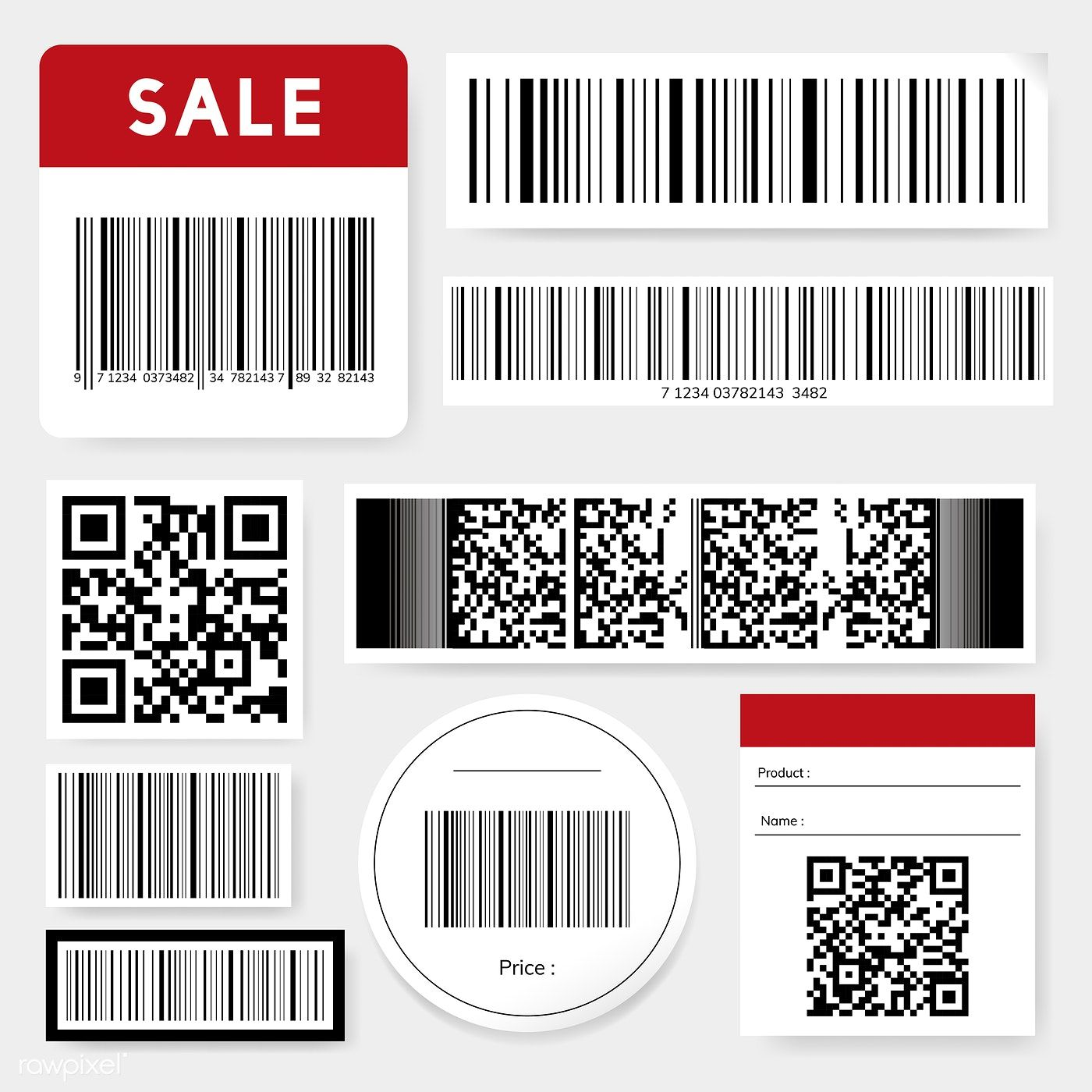 Barcode and QR code vector set free image by rawpixel