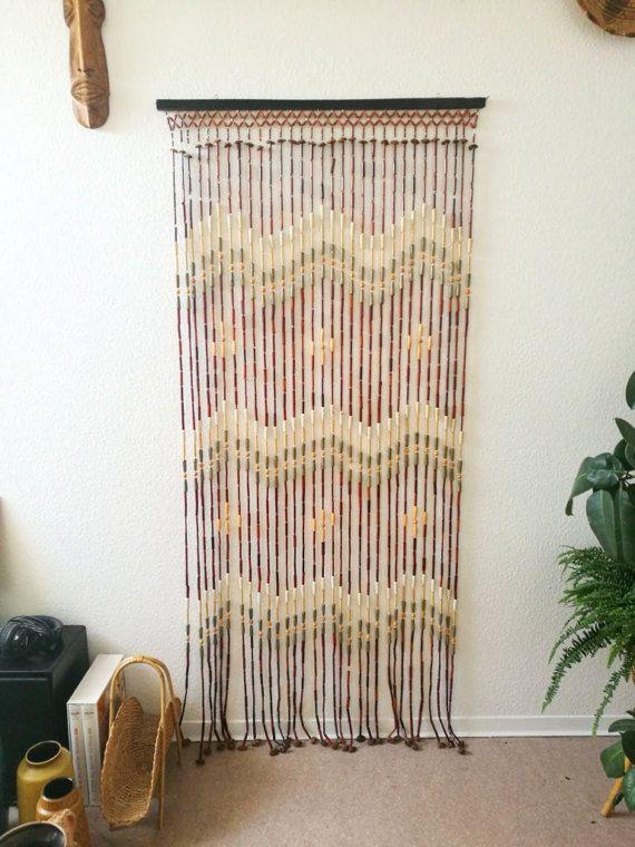 Great 70s Beaded Curtain Boho Vintage Van Eclectic Living Hippie