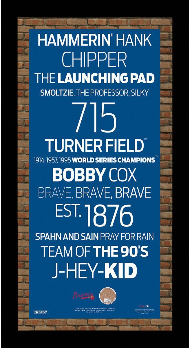 Atlanta Braves Subway Sign 9.5x19 Frame w/ auth Dirt from Turner ...