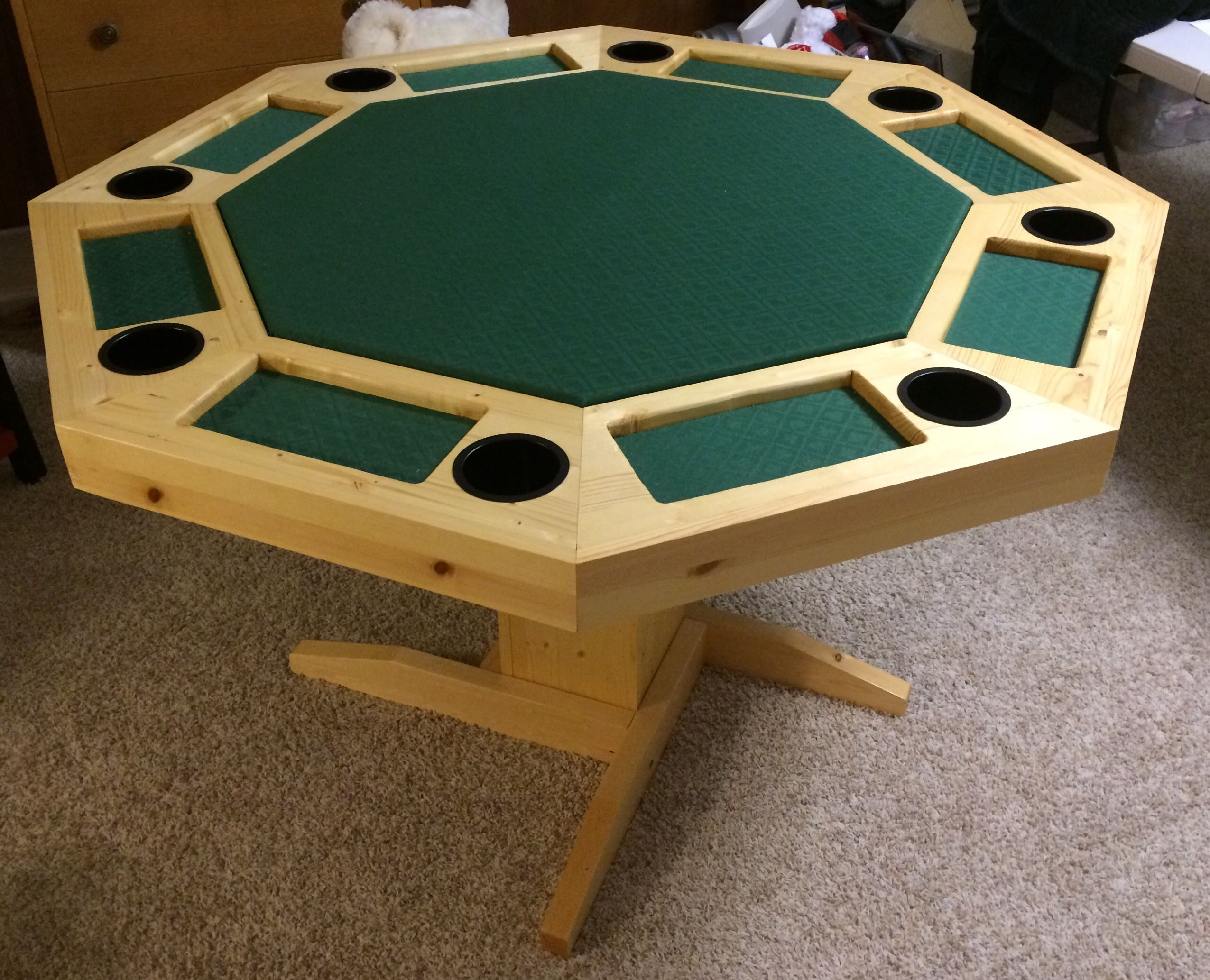 Octagonal Pine Poker Table Seats 8 People With Cupholders Poker Table Plans Octagon Poker Table Poker Table Diy