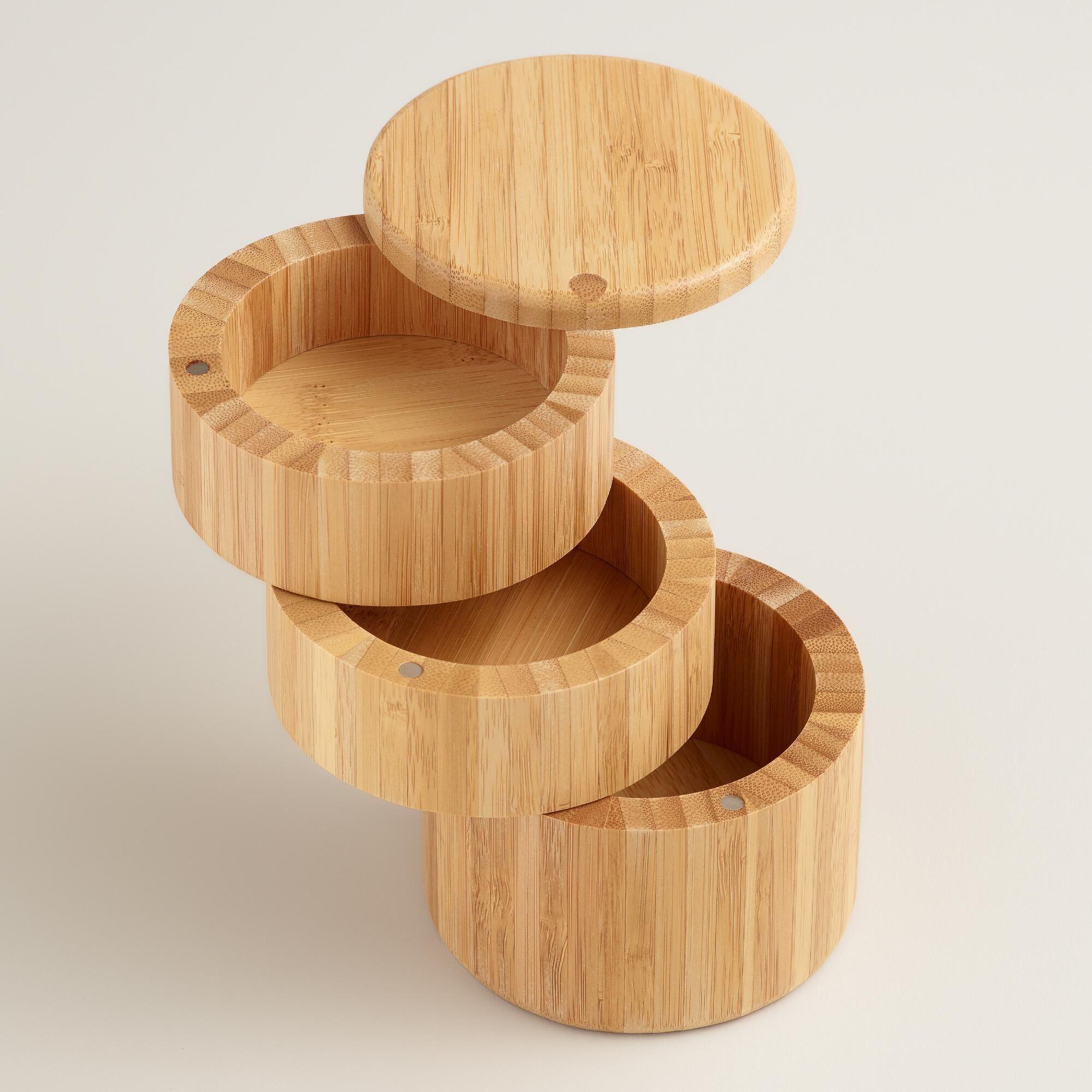 Bamboo 3-Tier Salt and Spice Storage Box   World Market   Kitchen ...