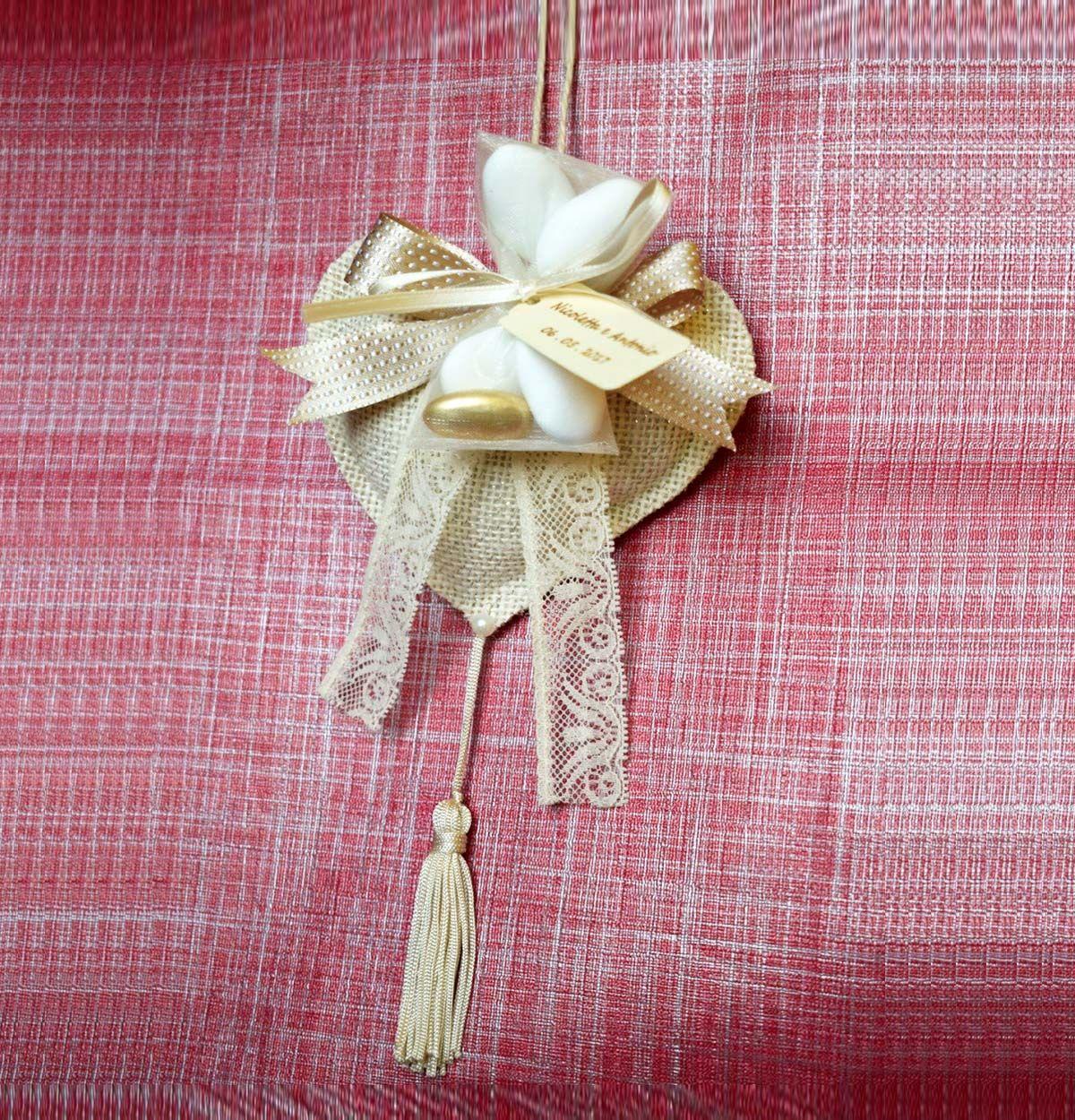 Bomboniera - Cuore in iuta con ptpourry profumato alla lavanda ...